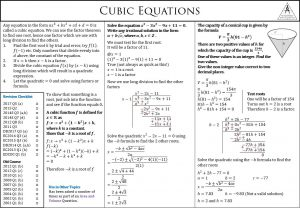 Leaving Certificate Higher Level Cubic Equations Maths