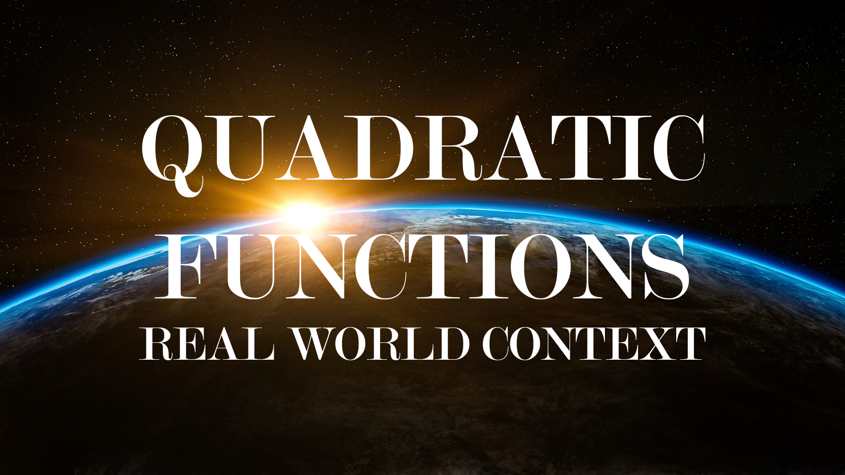 quadratic functions real world context maths points
