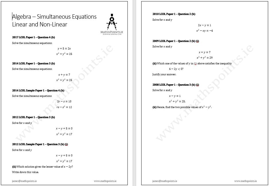 how to solve simultaneous linear equations